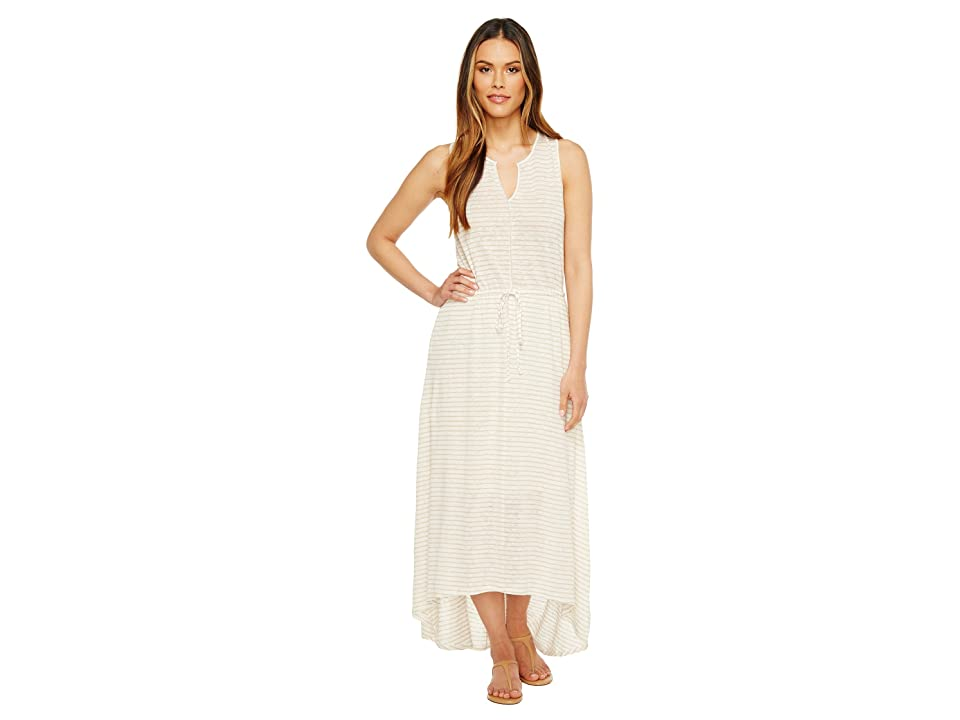 HEATHER Grace Linen Grecian Maxi Dress (Natural Stripe) Women
