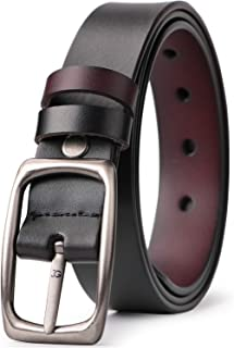 Women Leather Reversible Belt for Jeans Dress Pants Casual Ladies Belt for Girls with Solid Buckle By JASGOOD
