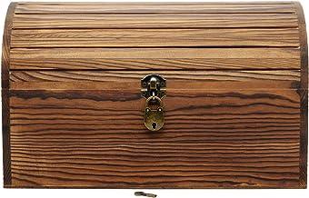 arlis Premium Grote Massief Houten Schatkist met slot - 34,5 x 18,5 x 20 cm - Handgemaakt Grenenhout, Gevlamd, Hoge Kwaliteit Schatkist/Geschenkkist
