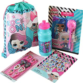 LOL Drawstring Party Bag Bundle with 16 oz Water Bottle, LOL Diary, Erasers and Sticker Book Set...