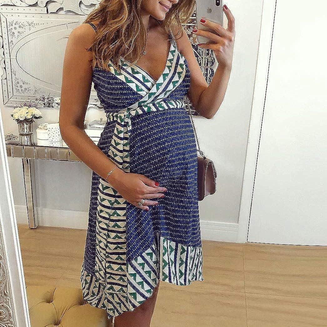 Mnyycxen Midi Dresses for Women,Womens V Neck Sleeveless Summer Floral Dress for Daily Wearing