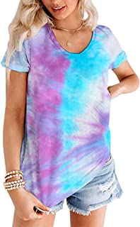 Women V Neck Summer Shirts Short Sleeve Basic Tees Casual Blouses Tops