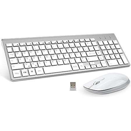 FENIFOX Pack de teclado y ratón Inalámbrico on batería de mayor duración y receptor USB para computadora portátil, PC y Mac OS M Plata