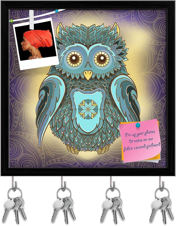 Artzfolio Owl On Ornamental Background Key Holder Hooks   Notice Pin Board   Black Frame 20 X 20Inch