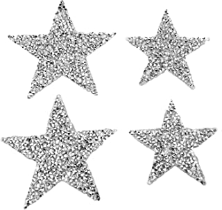 Monrocco 12pcs Clear Rhinestone Star Iron on Applique Patches Transfer