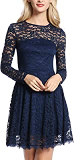 Women's Floral Lace Long Sleeve A-Line Wedding Cocktail Party Swing Dress