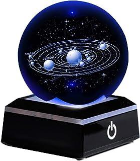 HKALL 3,15 Pouces système Solaire Boule de Cristal 3D planètes système Solaire Globe, veilleuse 3D avec Interrupteur Tacti...