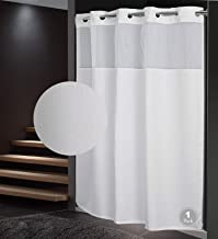 Fabritones Shower Curtain with Snap in Liner Grommet Hook Less Plain Pattern Waterproof 71x77 Inch