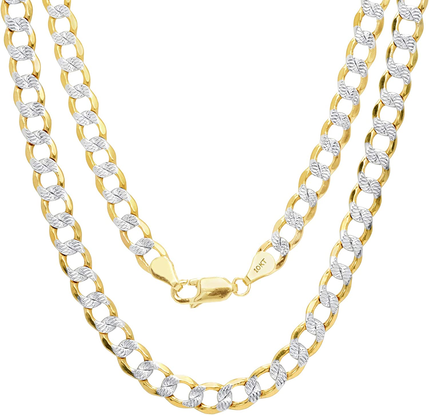Nuragold 10k Yellow Gold 5.5mm Cuban Chain Curb Link Diamond Cut Pave Two Tone Pendant Necklace, Mens Womens Lobster Lock 18