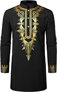 SportsXX Men's Stylish Blouse T-shirt Tops Relaxed African Comfy Shirts Tops