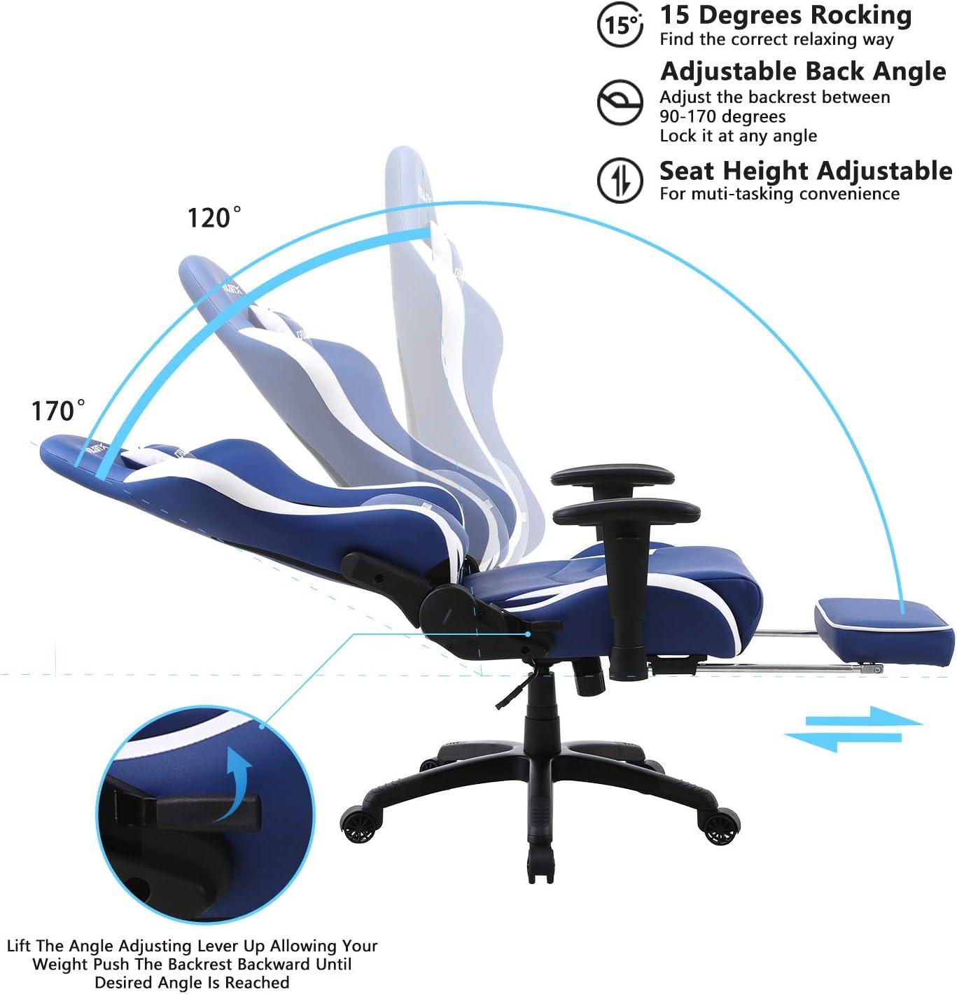Dowinx Silla Gaming Ergon/ómica Estilo Carreras con Reposapi/és y Soporte Lumbar Masajeador Silla de Oficina para Computadora Cuero PU Silla para Juegos E-Sport Respaldo Alto Azul