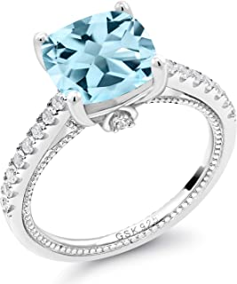 4.52 Ct Cushion Sky Blue Topaz White Created Sapphire 925 Sterling Silver Ring