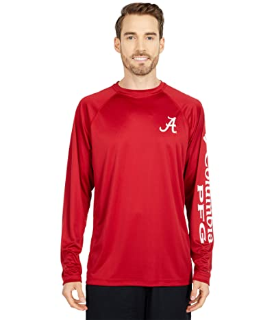 Columbia College Alabama Crimson Tide Terminal Tackletm Long Sleeve Shirt (Red Velvet/White) Men