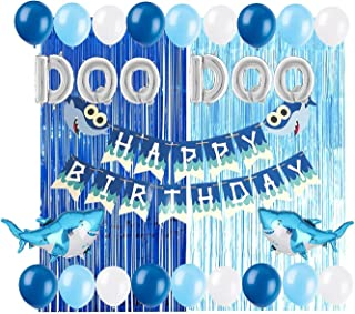 SAPU Baby Shark Party Supplies Decorations DOO DOO Foil Balloons Shark Birthday Banner for Boy Girl Baby Shower 1st 2nd 3r...