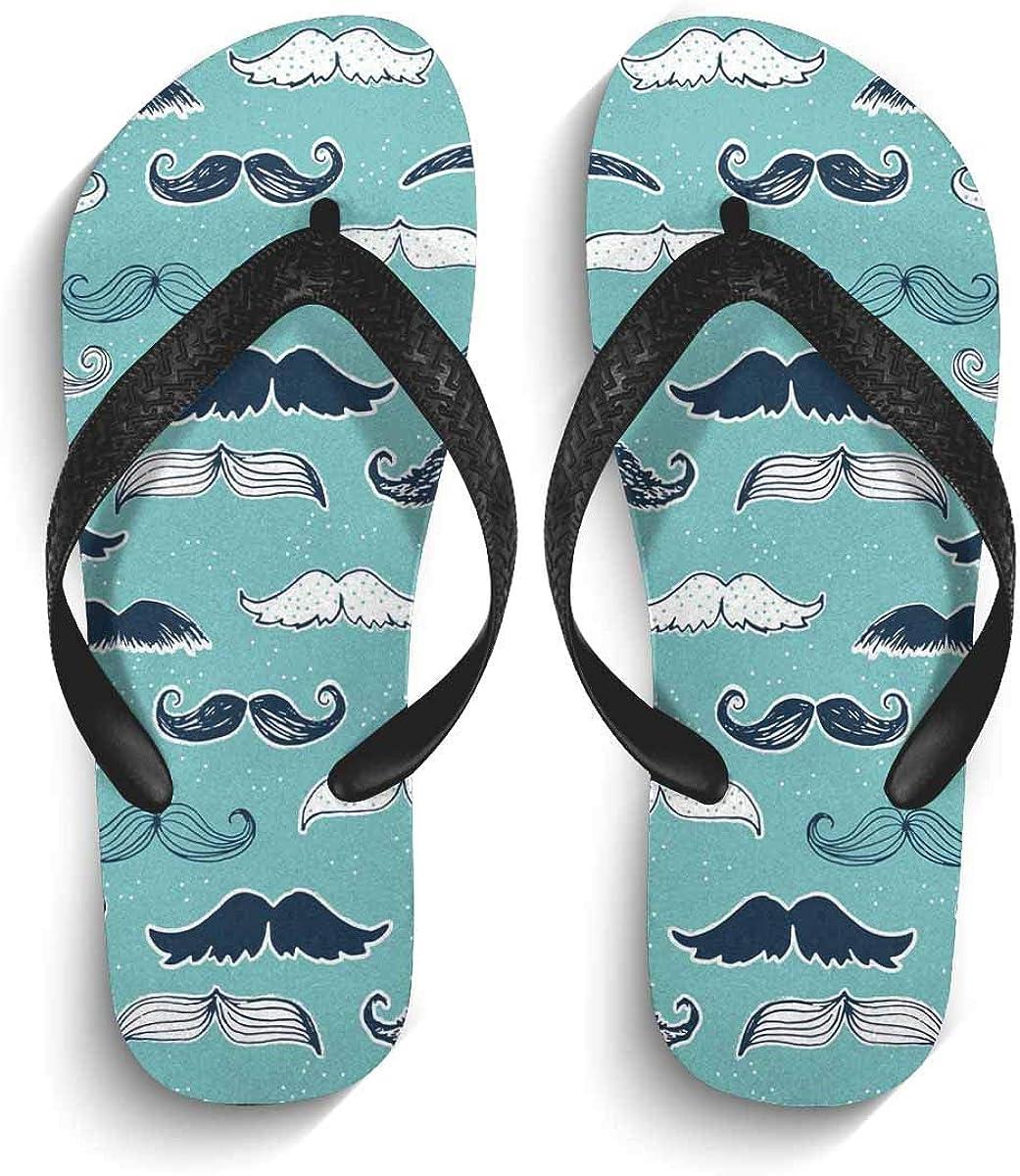 InterestPrint Non-Slip Flip Flops Sandal Cute Moustache Repeat Background Wallpaper Lightweight Summer Beach Thong Slippers for Men M