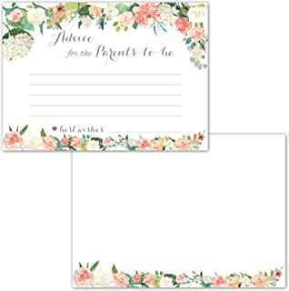 40 Pack Floral Baby Shower Advice Cards for Parents to Be, Gender Neutral Keepsake Or Guest Book Alternative for Your Baby Registry Gift Idea, Perfect to Fill-in Good Wishes and Ideas for New Moms