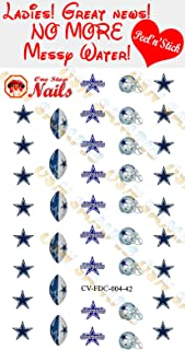 Cowboys Clear Vinyl PEEL and STICK (NOT Waterslide) nail decals/stickers V4. Set of 42. (A1)