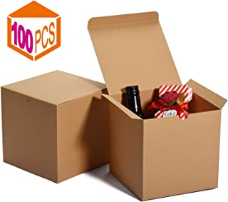 MESHA Kraft Boxes,Brown Gift Boxes 6 x 6 x 6 inches, Paper Gift Boxes with Lids for Gifts, Crafting, Cupcake Boxes (100)