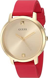 GUESS Comfortable Gold-Tone + Red Stain Resistant Silicone Watch with Genuine Diamond Accents. Color: Red (Model: U1210L2)