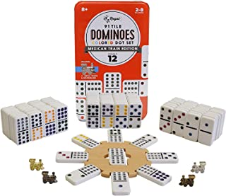 Regal Games Double 12 Colored Dot Dominoes Mexican Train Game Set with Wooden Hub, 91..