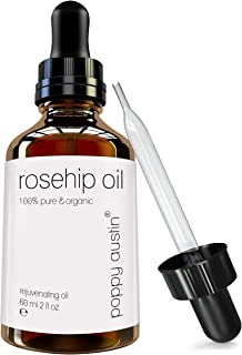 Pure Rosehip Oil by Poppy Austin - Vegan Certified, Cruelty-Free, Organic & Eco Friendly - Cold Pressed Rose Hip Seed, Best for Face, Dry Skin, Greasy Skin, Fine Lines & Acne Scars, 2 oz