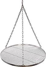 Grillrost Durchmesser 70 cm mit Kette Edelstahl 4 mm Grillstabdicke Stababstand 10 mm für Schwenkgrill BBQ Dreibein