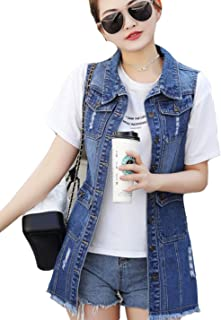 Flygo Womens Casual Button Up Mid Long Ripped Denim Jean Vest Sleeveless Jacket