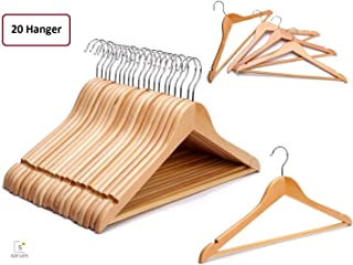 Solid Wood Garment (20) Hangers - with Non Slip Bar and Precisely Cut Notches (20)- 360 Degree Swivel Chrome Hook - Natural Finish Super Sturdy and Durable Wooden Hangers (20)