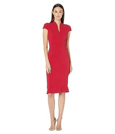 Zac Posen Bonded Crepe Cap Sleeve Fitted Dress (Crimson) Women