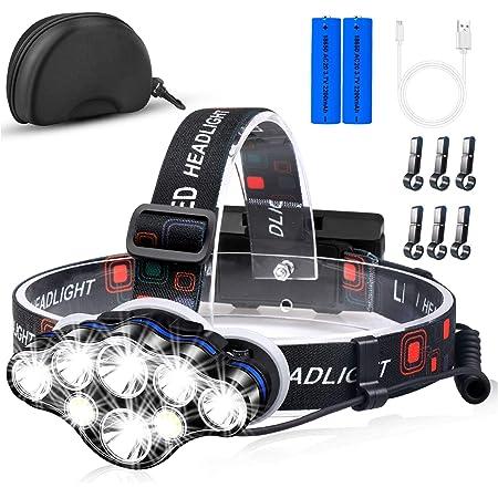 Miotsukus ヘッドライト LEDヘッドランプ 18000ルーメン 8 LED USB充電 防水 赤&白ライト 8種モード