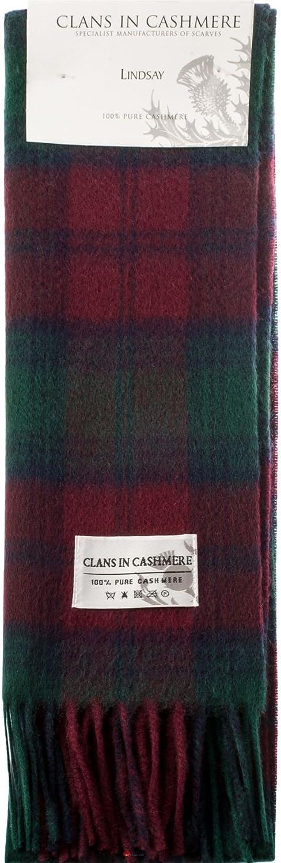 Luxury 100% Cashmere Scottish Clan Scarf Lindsay Modern
