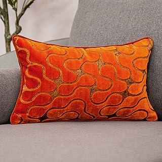 Yangest Burnt Orange Velvet Wave Lumbar Throw Pillow Cover Wavy Line Luxury Cushion Case Modern Zippered Rectangular Pillo...