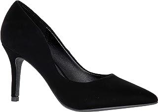MVE Shoes Women's Pointed Toe Low Kitten Heel Pumps - Dress Slip On Pumps Shoes - Stiletto Wedding Pumps