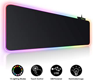 Large RGB Gaming Mouse Pad - 15 Light Modes Touch Control Extended Soft Computer Keyboard Mat, Durable Stitched Edges and Non-Slip Rubber Base for Gamer, Esports Pros, Office Working 31.5X11.8in