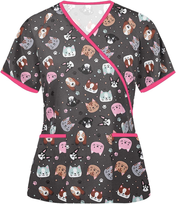 FENGSZ Women's Short Sleeve V Neck Tops Cartoon Print Shirts Blo