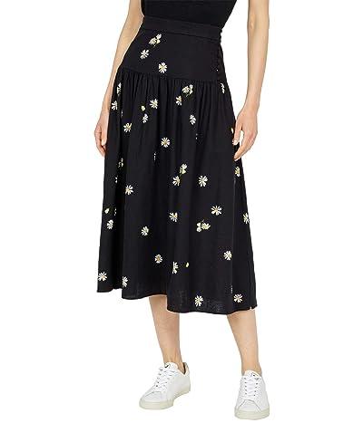 Madewell Drawstring Midi Slip Skirt in Daisy