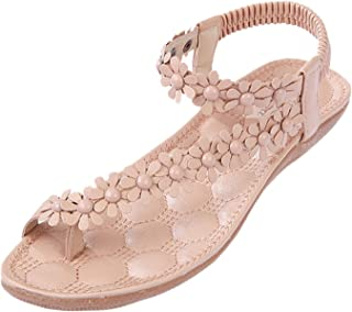 Minetom® Simple Flower Beading Round Head Flip Flop Shoes Flat Sandals
