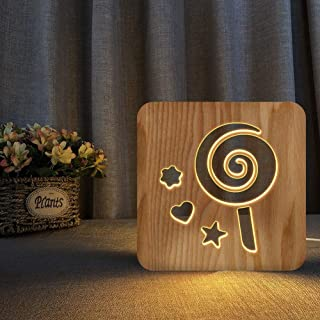 Lollipop Creative 3D LED Animal Wooden Desk Lamp, Home Bedroom Decor Lamp Christmas Holiday Birthday Gifts USB Power