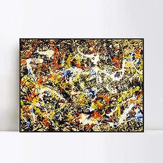 INVIN ART Convergence by Jackson Pollock Framed Canvas Giclee Print Art Abstract Wall Art Home Decor(Black Slim Frame,24