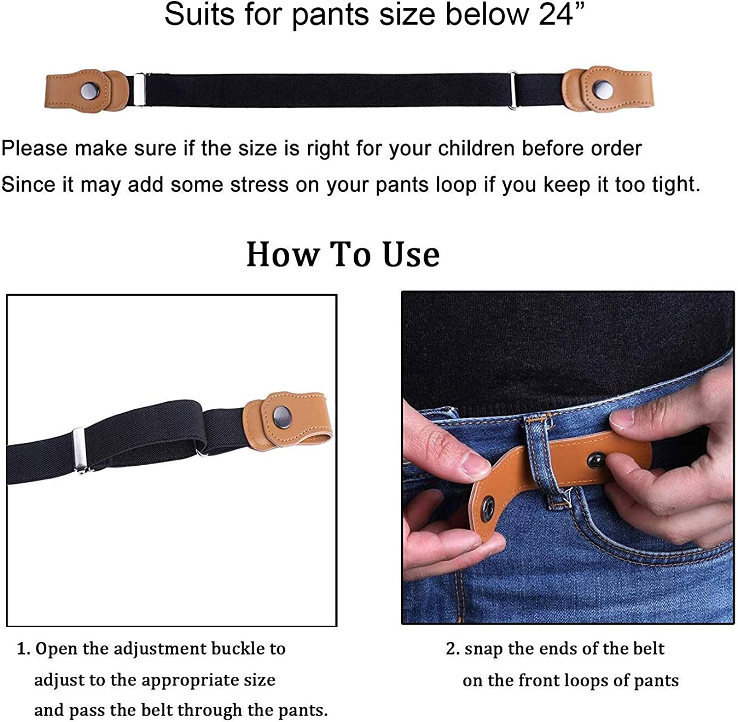 ZoneStar No Buckle Stretch Kids Belt for Boys and Girls Buckle Free Child Adjustable Invisible Belt