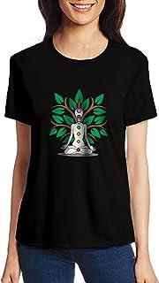 Pooplu Womens Seven Colours of Yoga Cotton Printed Round Neck Half Sleeves Black & White Tshirt. Exercise & Gym, Symbol t Shirt