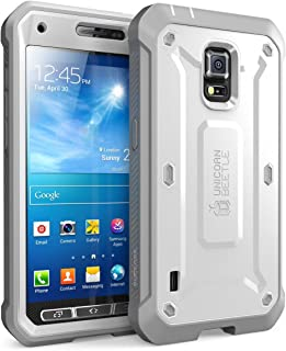 Galaxy S5 Case, SUPCASE [Heavy Duty] [Unicorn Beetle Pro Series] Full-body Rugged Case with Built-In Screen Protector for Samsung Galaxy S5 Case, Dual Layer Design Impact Resistant Bumper (White/Gray)