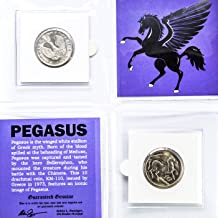 PEGASUS COIN in mini folder with Certificate of Authenticity - 1973 GREECE 10 Drachmai Coin KM-110 - FLYING HORSE & PHOENIX Greek Mythology
