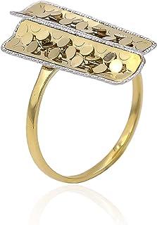 Tala Anello in Oro - 14K - Anello in Oro Bianco e Giallo cesellato. Peso gr 2.1