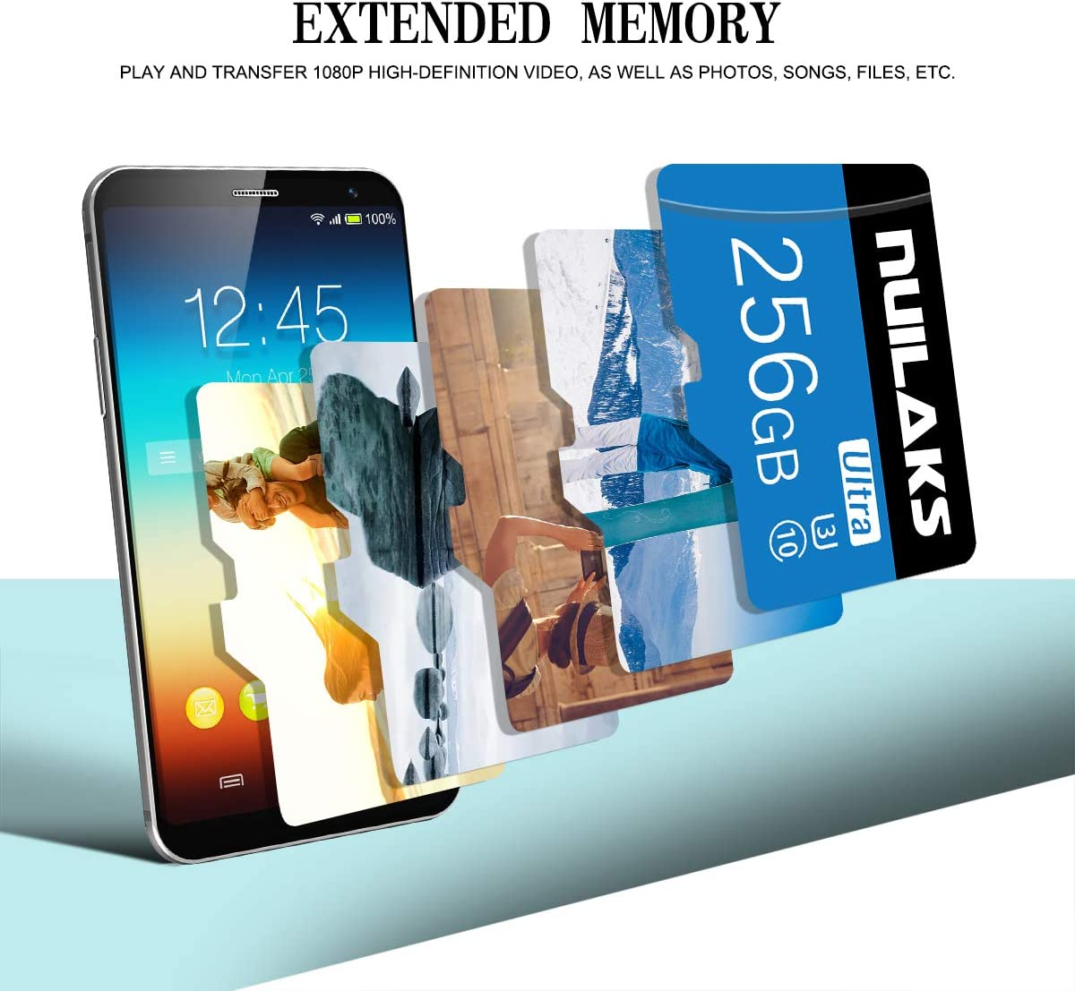 256GB Micro SD Card with Adapter (Class 10 High Speed) SD Memory Cards for Camera, TF Memory Card for Phone Computer Game Console, Dash Cam, Camcorder, Surveillance, E-Reader, Drone