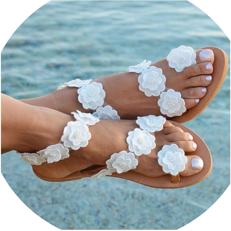 Monicas-house Women Sandals Bohemia Style Summer shoes for Women Flat Sandals Beach shoes Flowers Flip Flops Plus Size
