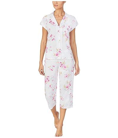 LAUREN Ralph Lauren Plus Classic Knits Short Sleeve Dolman Notch Collar Capri Pants Pajama (Pink Floral) Women