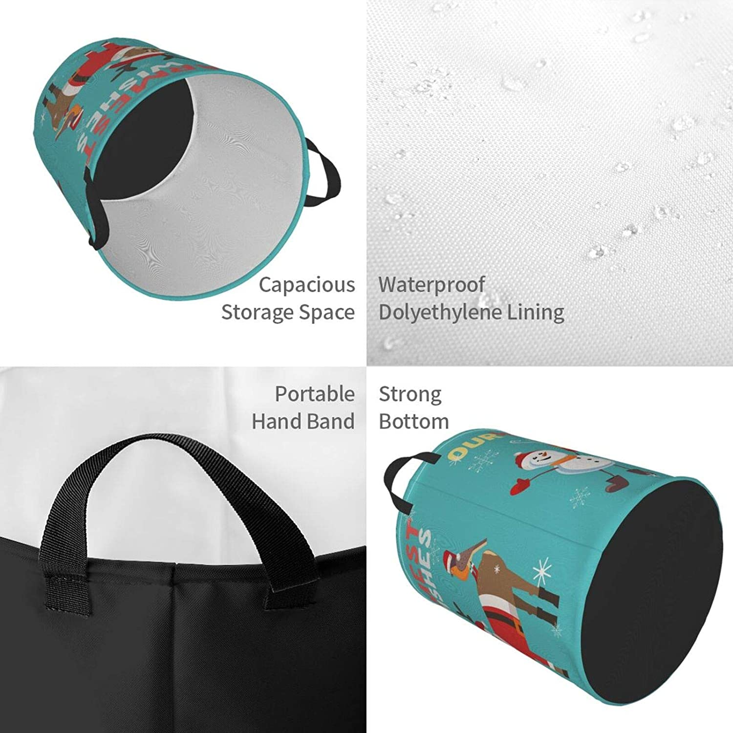 Collapsible Foldable Canvas Storage Bin Dirty Clothes Bag for Laundry//Toys Organizer//College Dorm//Nursery//Decor 2 Sizes Dujiea Christmas Laundry Basket Round with Handle