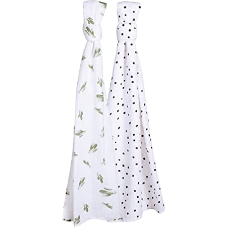 Large 47 x 47 inch Cactus Design Monochrome Muslin Swaddle Blanket with