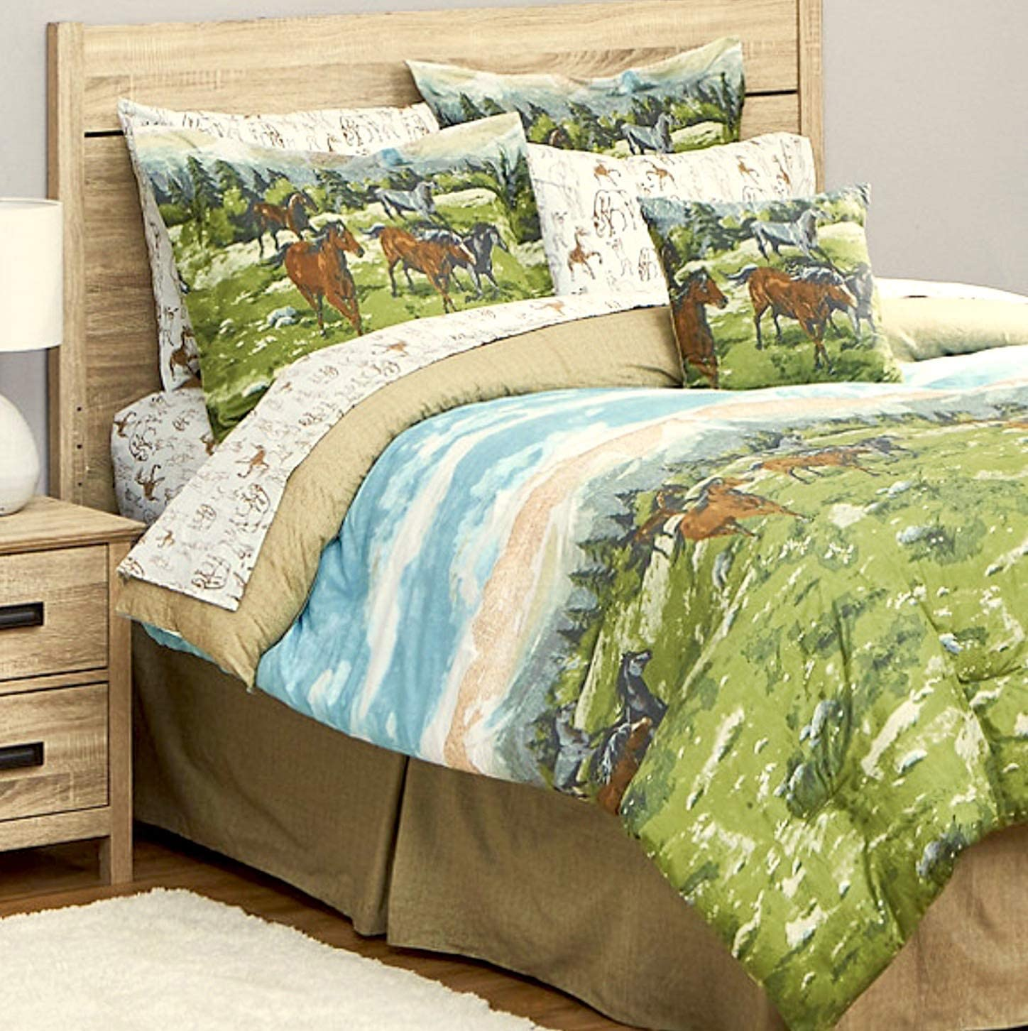 Running Free Horse Theme Comforter Set 即出荷 Bed King Bag 8pc 特価品コーナー☆ Si in a